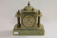 A late nineteenth century French green onyx mantle clock, width 29.5 cm.