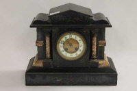 A Victorian black slate and marble mantle clock, width 36.5 cm.