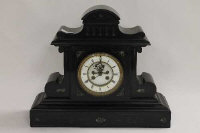 A Victorian black slate and green marble mantle clock, width 45 cm.