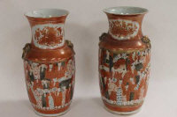 A pair of Japanese Kutani vases, height 35.5 cm. (2)