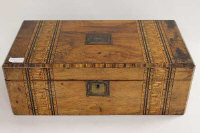 A Victorian inlaid walnut writing box, width 50 cm.
