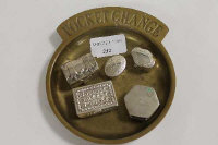 A brass pocket change tray, together with five sterling silver pill boxes. (6)