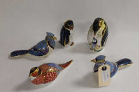 A Royal Crown Derby animal figure - Rockhopper penguin, together with four other birds of the same manufacture. (5)