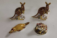 A Royal Crown Derby animal figure - The Australian collection kangaroo, together with three other animals of the same manufacture. (4)