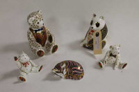 A Royal Crown Derby animal figure - Panda, together with four other animal figures of the same manufacture. (5)