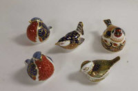 A Royal Crown Derby animal figure - Firecrest, together with four other birds of the same manufacture. (5)