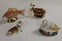 A Royal Crown Derby animal figure - Nanny Goat, together with three other animals of the same manufacture. (4)