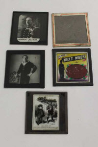 A collection of late Victorian / Edwardian magic lantern slides depicting military leaders, Charlie Chaplin and others. (Q)
