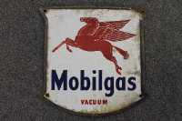 Seven early twentieth century enamel signs - Mobilgas. (7)
