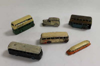 "A collection of Meccano Dink diecast vehicles to include:No.28e Delivery Van ""Firestone Tyres""; No.26 GWR Railcar; No.29G Luxury Coach; No.283 BOAC Coach; 2 x No.29c Bus.(6)."