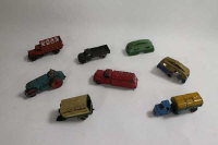 A collection of Meccano Dinky diecast vehicles to include: No.22c Motor truck; No.33e Mechanical Horse Dust Wagon Trail; No.25f Market Gardeners Lorry;No.30p Studebaker Petrol Tanker; No.25p Diesel Roller etc. (7).