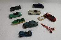 A collection of Meccano Dinky diecast vehicles to include: No.38D Alvis Sports Tourer;No.30D Vauxhall; No.30A Chrysler Airflow Saloon; No.38B Talbot Sports; No.38E Armstrong Siddeley Coupe; No.38F Jaguar ss100 Sports etc.