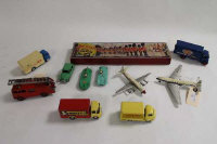A Dinky Supertoys Guy Ever Ready van, together with A Dinky Fire Engine, three Corgi advertising vans, a Herald Series of model soldiers, boxed, together with two Dinky aircraft, Dinky Hillman Minx,  Jaguar Type  D and Connaught racing car.