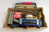 A Hornby Dublo locomotive engine 'Sir Nigel Gresley', boxed, together with Dublo rolling stock, Dinky Good's Yard crane, platform and track. (Q)