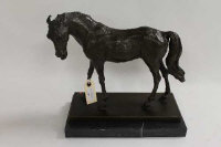 After P.J.Mene - A bronze study of a racehorse, on black marble plinth, height 33.5 cm.