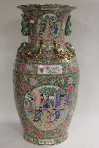A pair of large Cantonese style gilded vases, height 94 cm. (2)