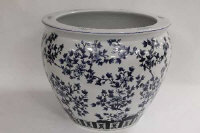 An Chinese style blue and white fish bowl, diameter 52.5 cm.
