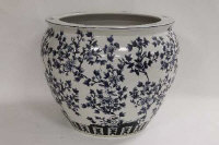 An Chinese style blue and white fish bowl, diameter 48 cm.