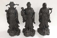 Three Chinese bronze figures - Wealth, Happiness and Prosperity, height 51 cm. (3)