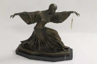 After D.H.Chiparus - bronze study of an Art Deco style dancer, on black marble plinth, height 35 cm.