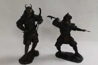 Two bronze figures depicting Samurai warriors, height 47 cm. (2)