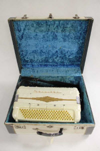 A one hundred and twenty button piano accordion by Stanelli, cased.