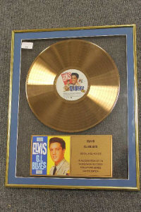 A limited edition gold-disc - Elvis G.I. Blues, framed.