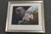 A limited edition colour print - Escape from the death star, by G.W.Hutchins, signned in pencil, framed.