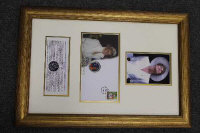 Two montages - Princess Diana first day coin cover, and a Cunard QE2 M2 first day cover, both parts framed. (2)