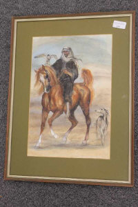 Benita Bammer : Arabian Gentleman on horseback, watercolour, 25 cm x 37 cm, signed, dated, framed.