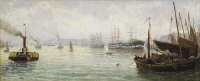 Bernard Benedict Hemy : Boats on a busy river, oil on panel, 47 cm x 20 cm, signed, framed.