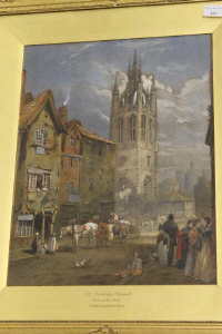 Thomas Miles Richardson Snr. : St. Nicholas Church, Newcastle upon Tyne, pen and ink with watercolour, 41 cm x 32 cm, framed.