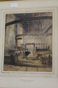 Thomas Miles Richardson : Interior of the chapel of Naworth Castle, watercolour, signed, dated 1834, with label in the artist's hand verso, 30 cm x 26 cm, framed.