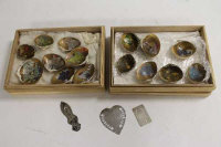 A collection of early twentieth century hand-finished Japanese shells, together with three silver book marks.