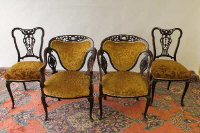 A pair of Victorian mahogany salon tub chairs, together with the matching pair of single chairs. (4)
