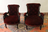 A pair of late Victorian salon armchairs. (2)