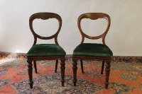 A set of six Victorian mahogany dining chairs. (6)