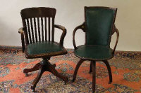 Two early twentieth century swivel office chairs. (2)