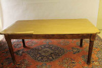A pine farmhouse table by JAS.Shoolbred, London, length 183 cm.