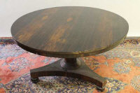 A nineteenth century rosewood breakfast table on tri-form base, width 126 cm.