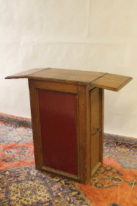 Two early twentieth century oak portable shop counters. (2)