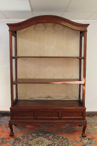 A pair of mahogany display cabinets fitted with three drawers, width 136 cm. (2)
