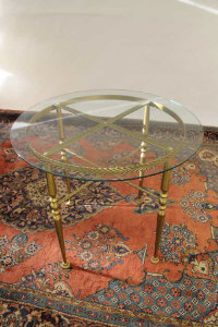 A pair of gilt metal glass topped tables, width 91 cm. (2)