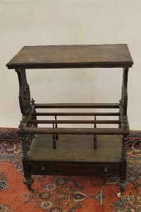 An early Victorian walnut what-not stand, width 66 cm.