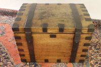 A late nineteenth century oak metal bound silver storage chest, width 78 cm.