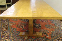 A carved oak refectory table by Robert 'Mouseman' Thompson of Kilburn, length 244 cm.