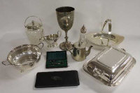 A collection of silver plated items including cut-glass biscuit barrel, trophy, basket etc.