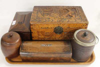 A Victorian rosewood tea caddy, together with a miniature camphor wood box, small domed casket and two wooden barrels. (5)