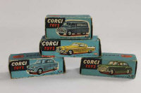 Four Corgi model vehicles - Morris Cowley Saloon, Studebaker Golden Hawk, Austin Cambridge Saloon and Bedford Daily Express van, all boxed. (4)