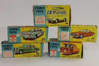 Five Corgi model vehicles - Ford Thames Caravan, Commer Pick-up, Buick Riviera, Ghia L64 and Bentley Continental Sports Saloon, all boxed. (5)